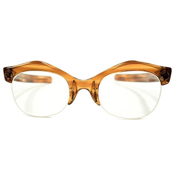変形山型ARTシェイプ デッドストック 1950s 英国製 MADE IN ENGLAND ストレートTEMPLE 鼈甲柄 ナイロール ブローフレーム クリアレンズ入即着用可 ビンテージヴィンテージ 眼鏡メガネ イギリス UK A4531