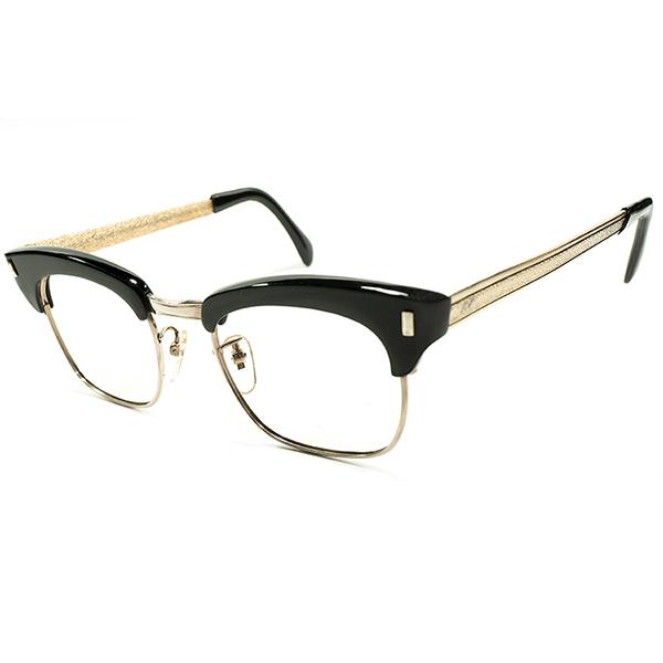 定番SHAPEレアデザイン デッドストック 1960s 英国製 MADE IN ENGLAND BLACKセル×GOLDプレート型TEMPLE コンビネーション ブロータイプ ビンテージヴィンテージ 眼鏡メガネ イギリス UK A4543