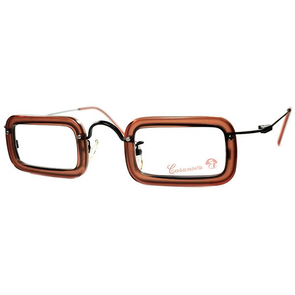 ANTIQUE x 抽象芸術 DIGITALアバンギャルド 1980s-90s Italy製 デッドストック Casanova カサノヴァ 2POINT 小径スクエアCOMBO 眼鏡 ビンテージヴィンテージ めがねメガネ a6051
