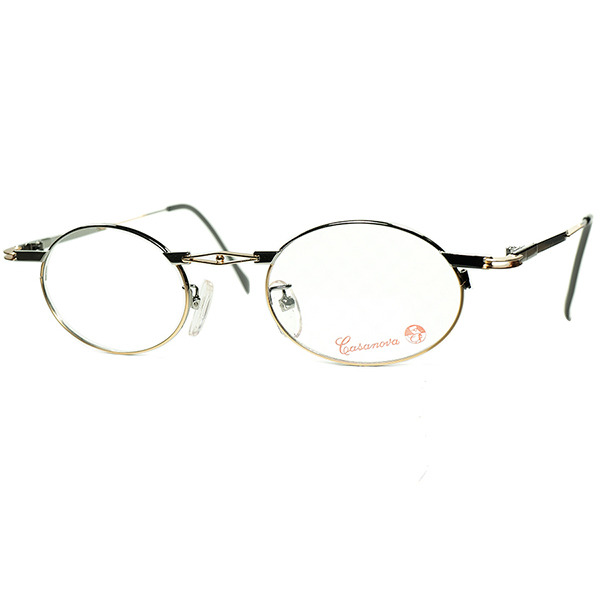 ART DECO期アブストラクトARTテイスト 1980s-90s Italy製デッドストック Casanova カサノヴァ コンポジションOVALラウンド丸眼鏡 size44/22  ビンテージヴィンテージ 眼鏡メガネ a6126