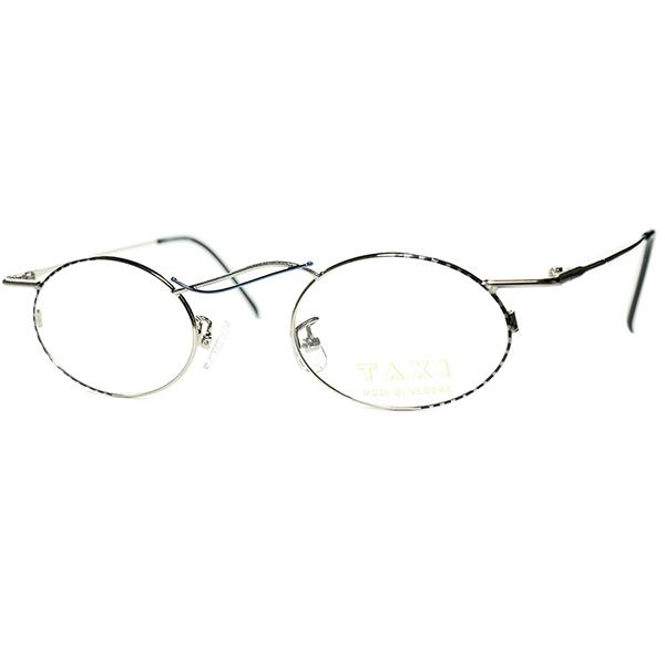 流麗アシンメトリー美学1980s-90s Italy製 デッドストック TAXI by Casanova カサノヴァ コンポジション OVAL 丸眼鏡 丸メガネ ビンテージヴィンテージ 眼鏡メガネa6135