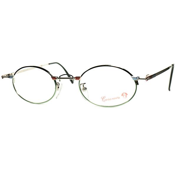 30sART meets EYEWEAR 1980s-90s Italy製 デッドストック Casanova カサノヴァ コンポジション OVALラウンド 丸眼鏡 size44/21 ビンテージヴィンテージ 眼鏡メガネ a6217