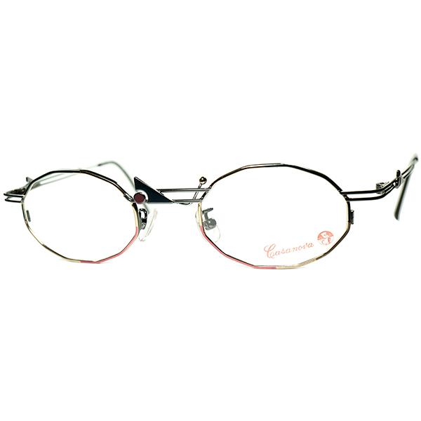 シンメトリー絶妙美配色ハンドペイント1980s-90s Italy製 デッドストック Casanova カサノヴァ コンポジション 十二角形 DODECAGON ビンテージヴィンテージ 眼鏡メガネ a6276