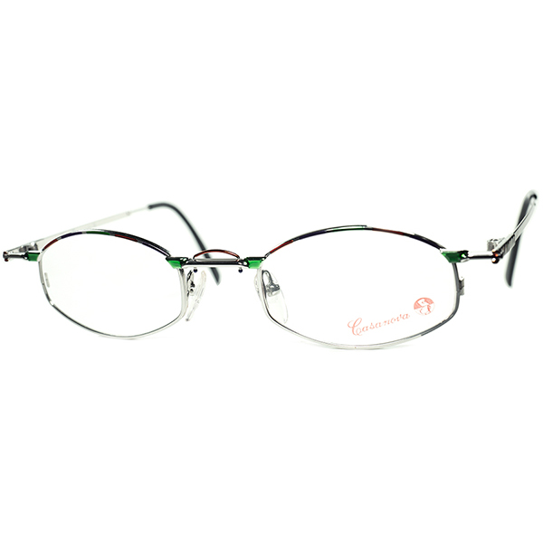 懐古的ANTIQUE JEWERYオーラ1980s-90s Italy製 デッドストック Casanova カサノヴァ コンポジション六角形 HEXAGON シルバーメタル ビンテージヴィンテージ 眼鏡メガネ a6277