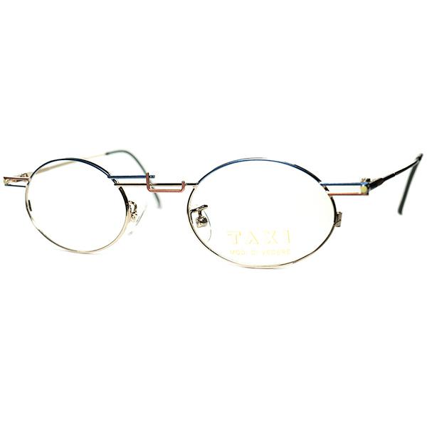 得意技アシンメトリー炸裂 1980s-90s Italy製デッドストック TAXI by Casanova カサノヴァ ABSTRACTコンポジションOVALラウンド 丸眼鏡 丸メガネ ビンテージヴィンテージ 眼鏡メガネa6282