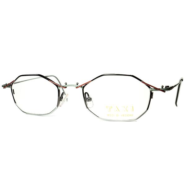 独自アプローチBLACKフレーム 1980s-90s Italy製デッドストック TAXI by Casanova カサノヴァ ABSTRACTコンポジション 変型八角形OCTAGON ビンテージヴィンテージ 眼鏡メガネ a6286