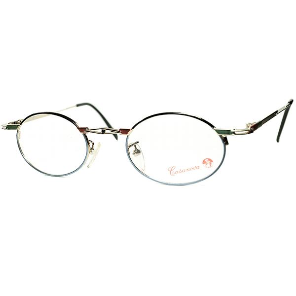 ARTDECO x BAUHAUS 30sテイスト 1980s-90s Italy製デッドストック Casanova カサノヴァ コンポジションOVALラウンド丸眼鏡 size44/22 ビンテージヴィンテージ 眼鏡メガネ a6287