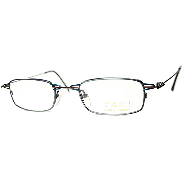 シャレ者いぶし銀アプローチ1980s-90s Italy製デッド TAXI by Casanova カサノヴァ ABSTRACTコンポジションSQUARE系ウェリントン ビンテージヴィンテージ 眼鏡メガネ a6288