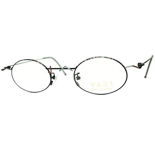 ミッドセンチュリーSTYLE アブストラクトHAND PAINTING 1980s-90s Italy製デッド TAXI by Casanova カサノヴァ OVAL ラウンド丸眼鏡 ビンテージヴィンテージ 眼鏡メガネa6293
