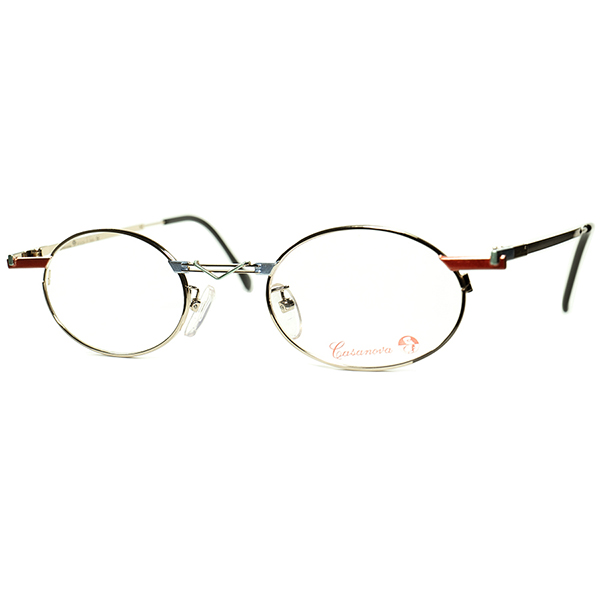 EARLY期アブスラクトART onアイウェア 1980s-90s Italy製 デッドストック Casanova カサノヴァ コンポジション OVALラウンド 丸眼鏡 size44/22  ビンテージヴィンテージ 眼鏡メガネ a6459