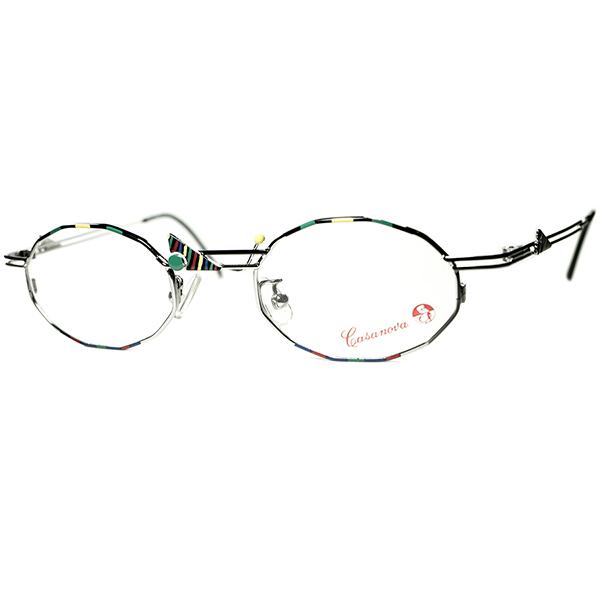 心理四原色x 幾何学RAREシェイプ 1980s-90s Italy製 デッドストック Casanova カサノヴァ コンポジション 十二角形 DODECAGON ビンテージヴィンテージ 眼鏡メガネ a6461