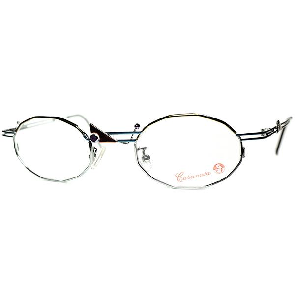 思考遊び的ハイセンスカラー位置1980s-90s Italy製 デッドストック Casanova カサノヴァ コンポジション 十二角形 DODECAGON 眼鏡 ビンテージヴィンテージ 眼鏡メガネ a6467