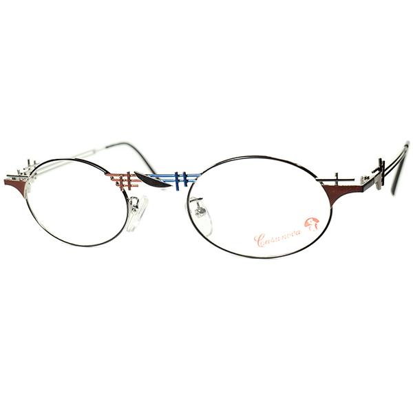 抽象芸術 INSPIRE 世界観炸裂 1980s-90s Italy製 デッドストック Casanova カサノヴァ コンポジション OVALラウンド 丸眼鏡 size44/22 ビンテージヴィンテージ 眼鏡メガネ a6469