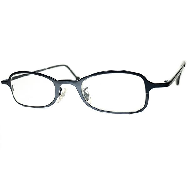 高精度モダンシックネス 1990s デッドストック ITALY製 l.a.Eyeworks アイワークス 短縦ウェリントン 合金製ロイヤルネイビービンテージヴィンテージ 眼鏡メガネ a6904