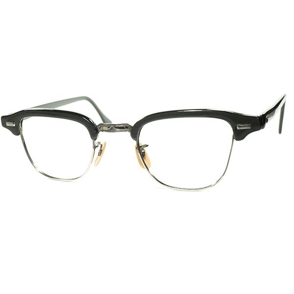 激渋AMERICAN CLASSIC稀少デザイン1940s-50s USA製 デッドストック彫金ブリッジ1/10 12KGF初期型ブロータイプ 眼鏡 size44/24  ビンテージヴィンテージ 眼鏡メガネ a7041