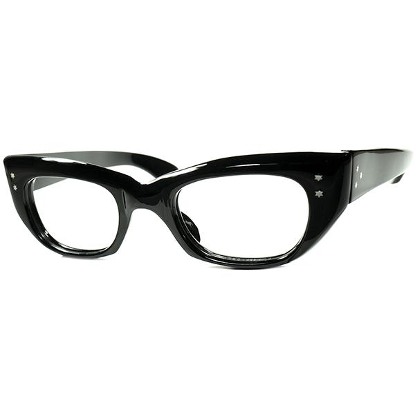 驚愕事実OG PEROTA完全同型個体1950s ハンドメイドENGLAND製六角星ヒンジ 芯なし肉厚テンプル6mm厚ウェリントン黒 46/22実寸 ビンテージヴィンテージ 眼鏡メガネ a7057