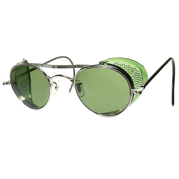 激渋硬派 TRUE HEAVY DUTY 1930s-40s USA製 B&L BAUSCH LOMB ボシュロム W-BRIDGE インダストリアルROUND 丸眼鏡 丸メガネ size44/24 ビンテージヴィンテージ 眼鏡メガネa7092