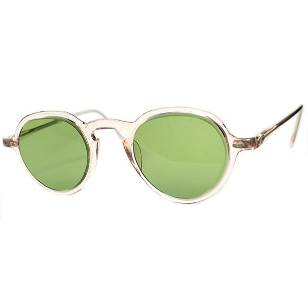 激渋WW2期 初期セルフレーム1930s-40sデッドストック USA製マニアックメーカーCESCOインダストリアルKEYHOLE PANTO 44/24 砂打FLATガラスLENS ビンテージヴィンテージ 眼鏡メガネa7103