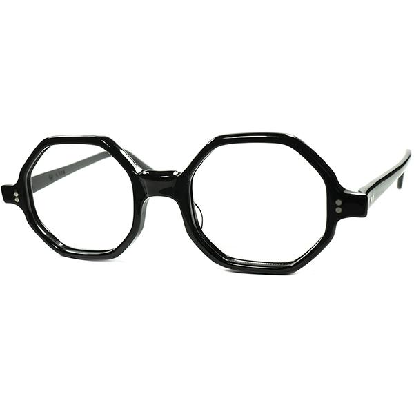 初登場 鬼RARE未復刻モデル1960s デッドストック USA製オリジナル タートオプティカル TART OPTICAL オクタゴン型BLACK size44/20  ビンテージヴィンテージ 眼鏡メガネ a7160