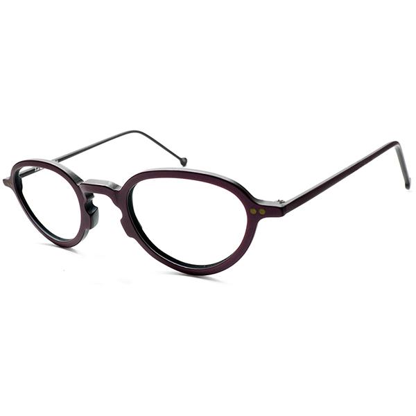 デイリーユース快適SIZE 1980s ITALY製 デッドストック l.a.Eyeworksアイワークス 変形KEYHOLE レーズンカラー OVAL型ラウンド丸眼鏡 丸メガネ ビンテージヴィンテージ 眼鏡メガネ a7161