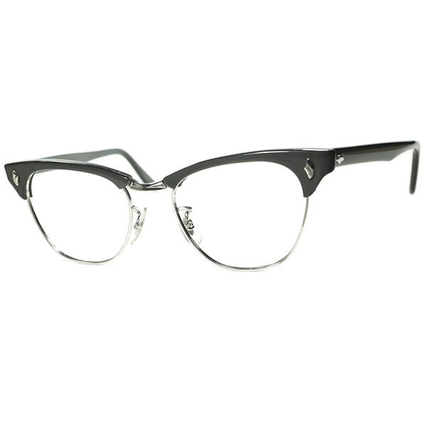 AUTHENTIC AMERICAN CLASSIC 1960s USA製デッドストック UNIVERSAL OPTICAL COMPANY FOX型ブロータイプ 本金張り1/10 12KGF size 44/18 ビンテージヴィンテージ 眼鏡メガネ a7162