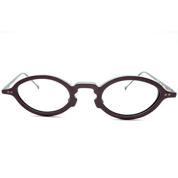 デイリーユース快適SIZE1980s ITALY製 デッドストックl.a.Eyeworks アイワークス 変形KEYHOLEブリッジ2TONEレーズン×艶消黒OVAL型ラウンド丸眼鏡 ビンテージヴィンテージ 眼鏡メガネ a7167