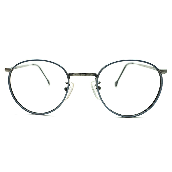 渋色エイジング加工1990s イタリア製 l.a.Eyeworks アイワークス シャンブレーブルー×グレーMATT仕上 彫金柄ブリッジFUL-VUEスタイル丸眼鏡 ビンテージヴィンテージ 眼鏡メガネ a7180