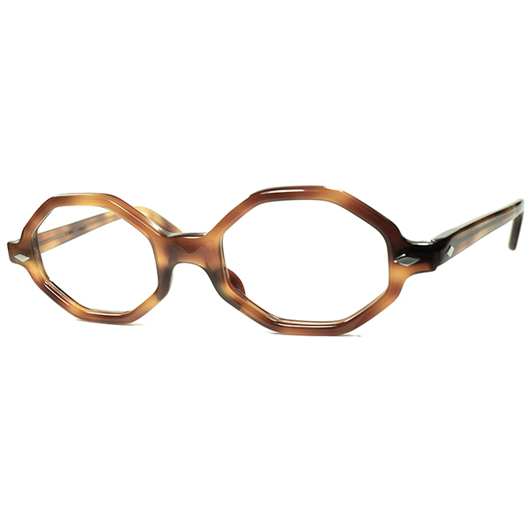 優秀DESIGN セル系オクタゴン人気モデル1960s フランス製 デッドストック FRAME FRANCE フレームフランス ダイヤヒンジOCTAGON size44/20 CLASSIC AMBER ビンテージヴィンテージ 眼鏡メガネ a7244