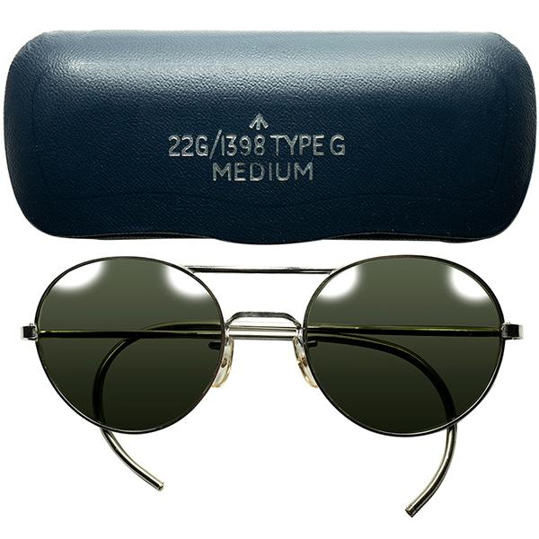 激渋&超絶クオリティ CASE付 デッドストック 1960s-70s 英国製 ブロードアロー刻印ブリティッシュミリタリーALGHA製 W-BRIDGE サングラス 丸眼鏡 ビンテージヴィンテージ 眼鏡メガネ a7245