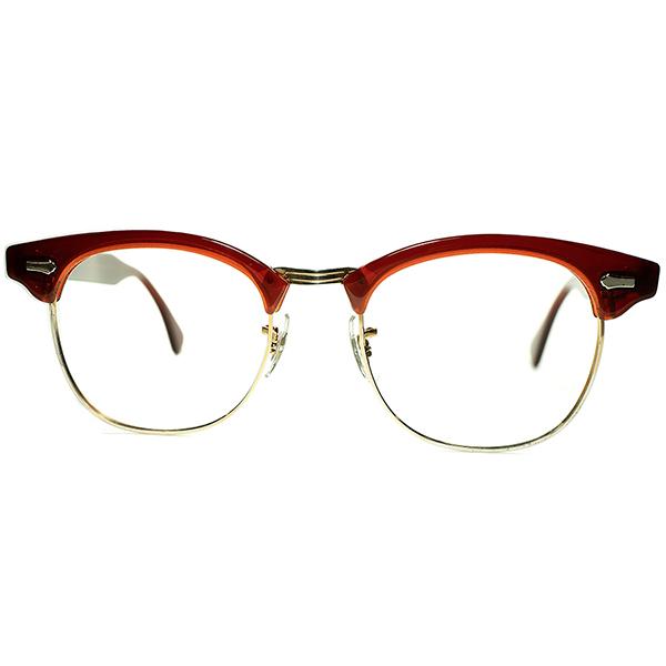 当時US国内 人気モデル1960s USA製 極上デッドストック SRO STYL RITE OPTICS 初代DOBBS ブロータイプ MAROONxGOLD size48/20 ビンテージヴィンテージ 眼鏡メガネ a7251
