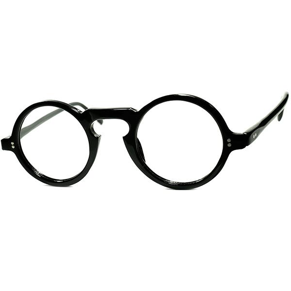稀少BLACK生地 狭めPD向け個体1940s-50s フランス製 デッドストック FRAME FRANCE フレームフランス 黒キーホール 正円ラウンド 丸眼鏡 丸メガネ ヴィンテージ 眼鏡 ビンテージヴィンテージ 眼鏡メガネ a7253