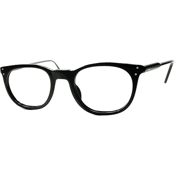 FRAME FRANCE時代 初期作品 超実用的BASIC DESIGN 1980sフランス製 デッドストックl.a.EyeworksアイワークスUK STYLEウェリントンPOLISHED BLACK46/22 メガネ ビンテージヴィンテージ 眼鏡メガネ a7269
