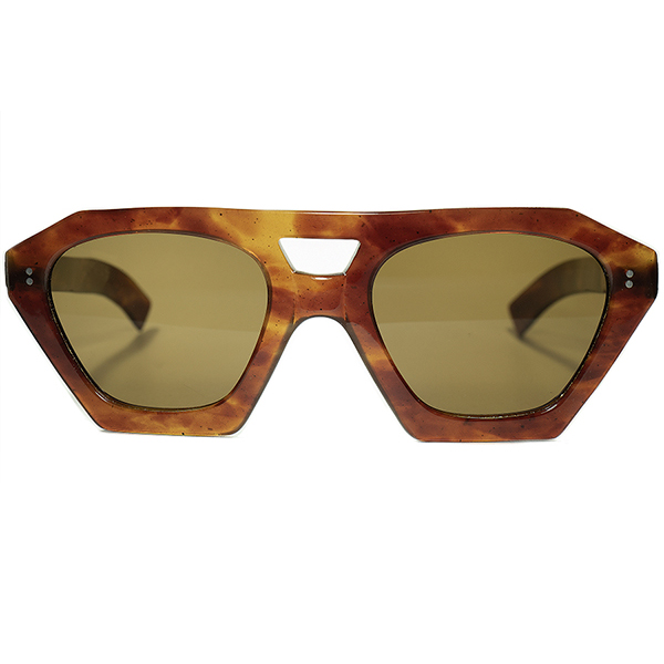 斬新OLD AVANT-GARDE1930-40s HAND MADE フランス製 デッドストック FRAME FRANCE フレームフランス 芯なし稀少セルロイド生地W-BRIDGE変形クラウンパントFLATガラスLENS ビンテージヴィンテージ 眼鏡メガネ a7283