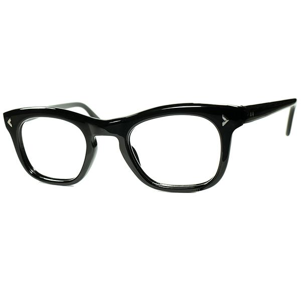 絶妙シルエットバランス 稀少BLACK生地 1950s フランス製 デッドストック FRAME FRANCE キーホール ウェリントン43/23実寸 ビンテージヴィンテージ 眼鏡メガネ a7297