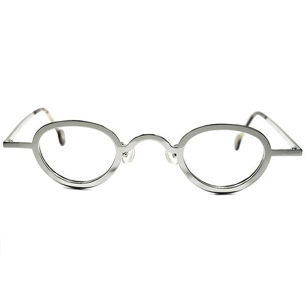 孤高オーラxULTRAデイリーSPEC 1990sデッドストック ITALY製 l.a.Eyeworksアイワークスx小径アイPANTO 丸眼鏡ROUND 最高格カラー鏡面SILVER ビンテージヴィンテージ 眼鏡メガネ a7302