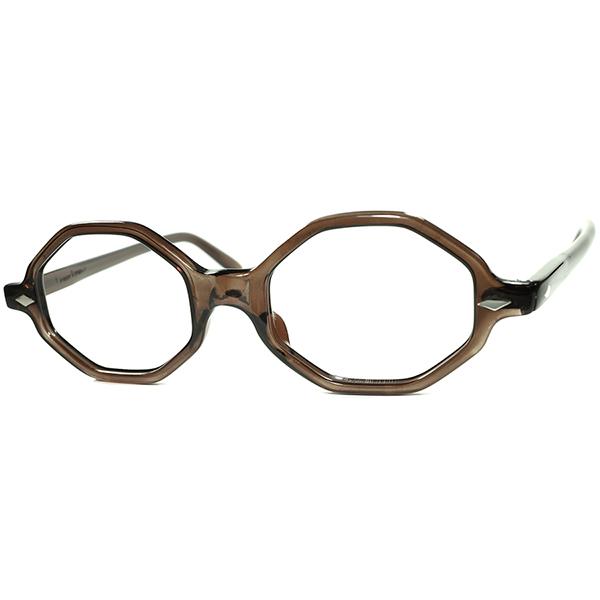 新鮮コントラスト後染めx幾何学シェイプ 1960s フランス製 デッドストック FRAME FRANCE フレームフランス ダイヤヒンジOCTAGON size46/20 ガーメントダイBROWN  ビンテージヴィンテージ 眼鏡メガネ a7303