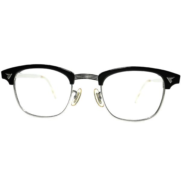 デッド級TOPランク彫金本金張りTEMPLE仕様1960s AO アメリカンオプティカル AMERICAN OPTICAL マルコムX MALCOLM X 黒1/10 12KGF size46/22 ビンテージヴィンテージ 眼鏡メガネ a7304