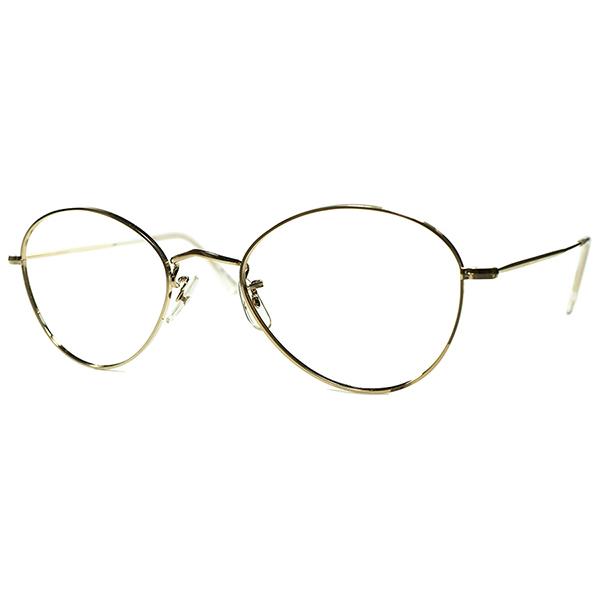 EARLY AVIATORサンプリング激渋シェイプ 1960s-1970s 英国製 ALGHA 12KTGF本金張りSINGLEブリッジOLD STYLEアビエーターPANTO52/22 丸眼鏡 ビンテージヴィンテージ 眼鏡メガネ a7309