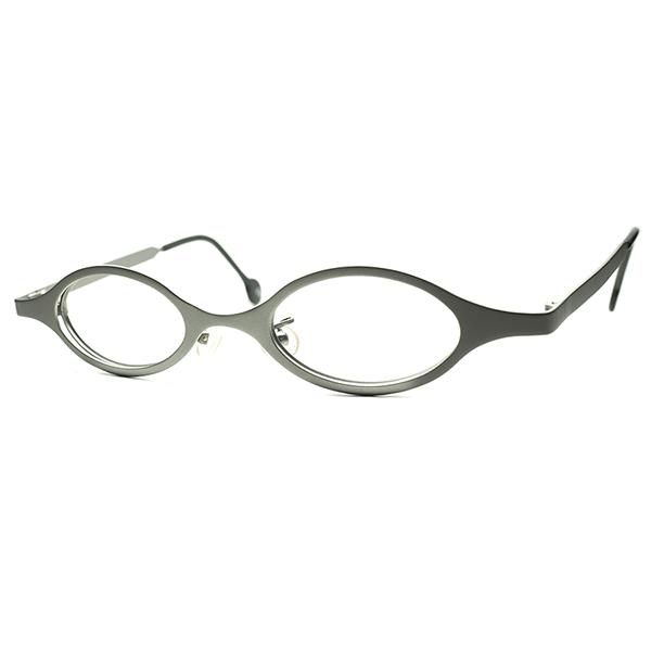 新境地開拓 アップグレードANTIQUE DESIGN 1990sデッドストック ITALY製 l.a.Eyeworksアイワークス 立体曲智 短縦OVALラウンド丸眼鏡 快適FIT メガネ ビンテージヴィンテージ 眼鏡メガネ a7314