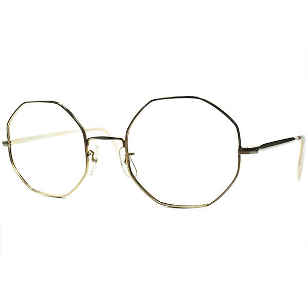ドンピシャオーラ超ハイスコア個体 1950s-60s MADE IN ENGLANDデッドストック 本金張りMETAL オクタゴン OCTAGON size48/20 英国 アンティーク ビンテージヴィンテージ 眼鏡メガネ a7335