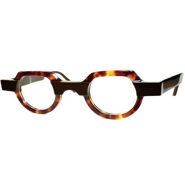 廃盤AWESOME DESIGN名作アーカイブ2010s BELGIUM製 デッドストック theo テオ 小径EYE クラウンパント CROWN PANTO 鼈甲柄xCHOCOLATE ビンテージヴィンテージ 眼鏡メガネ a7339