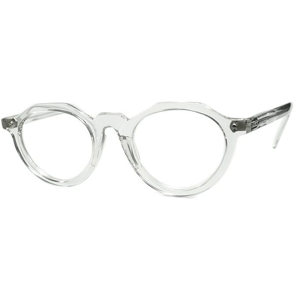 狭めPD向け GOODSIZE稀少個体 1940s-50sフランス製オリジナル デッドストック FRAME FRANCE クラウンパント CROWN PANTO クリスタル  ビンテージヴィンテージ 眼鏡メガネ a7340