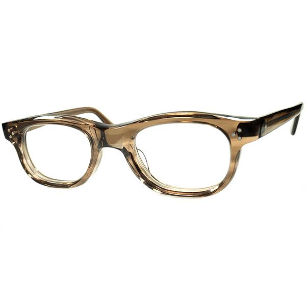 超GOODSIZEx鉄板ディティールコンボ1960sフランス製デッドストック FRAME FRANCE フレーム フランス 3DOT 8mm極厚 SMOKY AMBER ウェリントンPANTO ビンテージヴィンテージ 眼鏡メガネ a7349