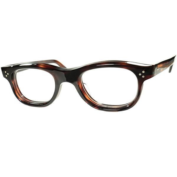超優秀オールラウンド1960sフランス製デッドストック FRAME FRANCE フレーム フランス 3DOT 8mm極厚 ウェリントンPANTO DEMI AMBER ビンテージヴィンテージ 眼鏡メガネ a7351