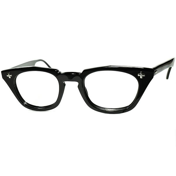 ビンテージ眼鏡界 代表的名作デッド級TOPランク極上個体1950s-60s USA製 B&L ボシュロム BAUSCH&LOMB クロス黒ウェリントンsize46/22 ビンテージヴィンテージ 眼鏡メガネ a7359