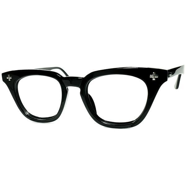 アングラオーラ激渋硬派 デッド同等TOPランク個体1950s-60s USA製 B&L ボシュロム BAUSCH&LOMB クロス黒ウェリントンsize 46/20 ビンテージヴィンテージ 眼鏡メガネ a7364