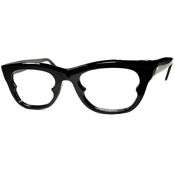 革命的アバンギャルドDESIGNx合理的設計 1960s デッドストックENGLAND製 ウェリントン型リーディンググラス 黒 老眼鏡 size46/22 ビンテージヴィンテージ 眼鏡メガネ a7366
