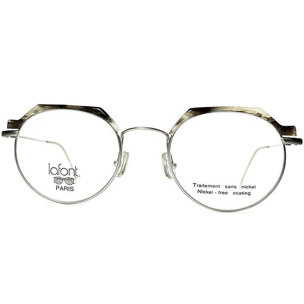極上スーパーデイリーユース 1980s-90s フランス製デッドストック FRAME FRANCE ラフォン lafont クラウンパント型 極細リム ブロータイプ ビンテージ ヴィンテージ 眼鏡 メガネ a7375