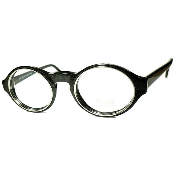 真骨頂CRAZYデザイン炸裂 1980s デッドストック FRAME FRANCE フランス製 IDC インナーメタルリム KEYHOLE OVAL PANTO ラウンド 丸眼鏡 ビンテージ ヴィンテージ 眼鏡メガネ a7401