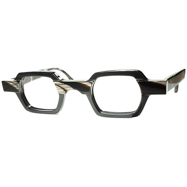廃盤EXCELLENT DESIGN 名作アーカイブ 2010s BELGIUM製デッドストック theo テオ 小径EYE 六角形HEXAGON ホーン柄xCHARCOAL 眼鏡 ビンテージ ヴィンテージ 眼鏡メガネ a7410
